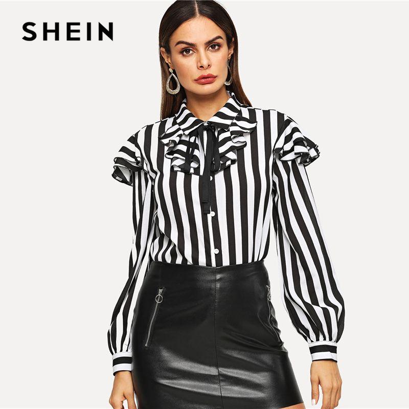 77f561bcda12b8 2019 SHEIN Black And White Layered Ruffle Trim Shirt Tie Neck Button Long  Sleeve Striped Blouse Women Elegant Workwear Autumn Shirts From Aimea