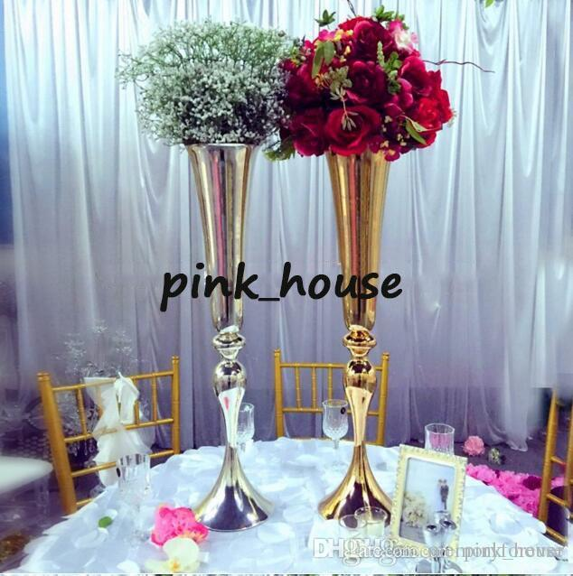 Grosshandel Elegant Tall Sliver 75cm Hohe Gold Metall Vase Hochzeit