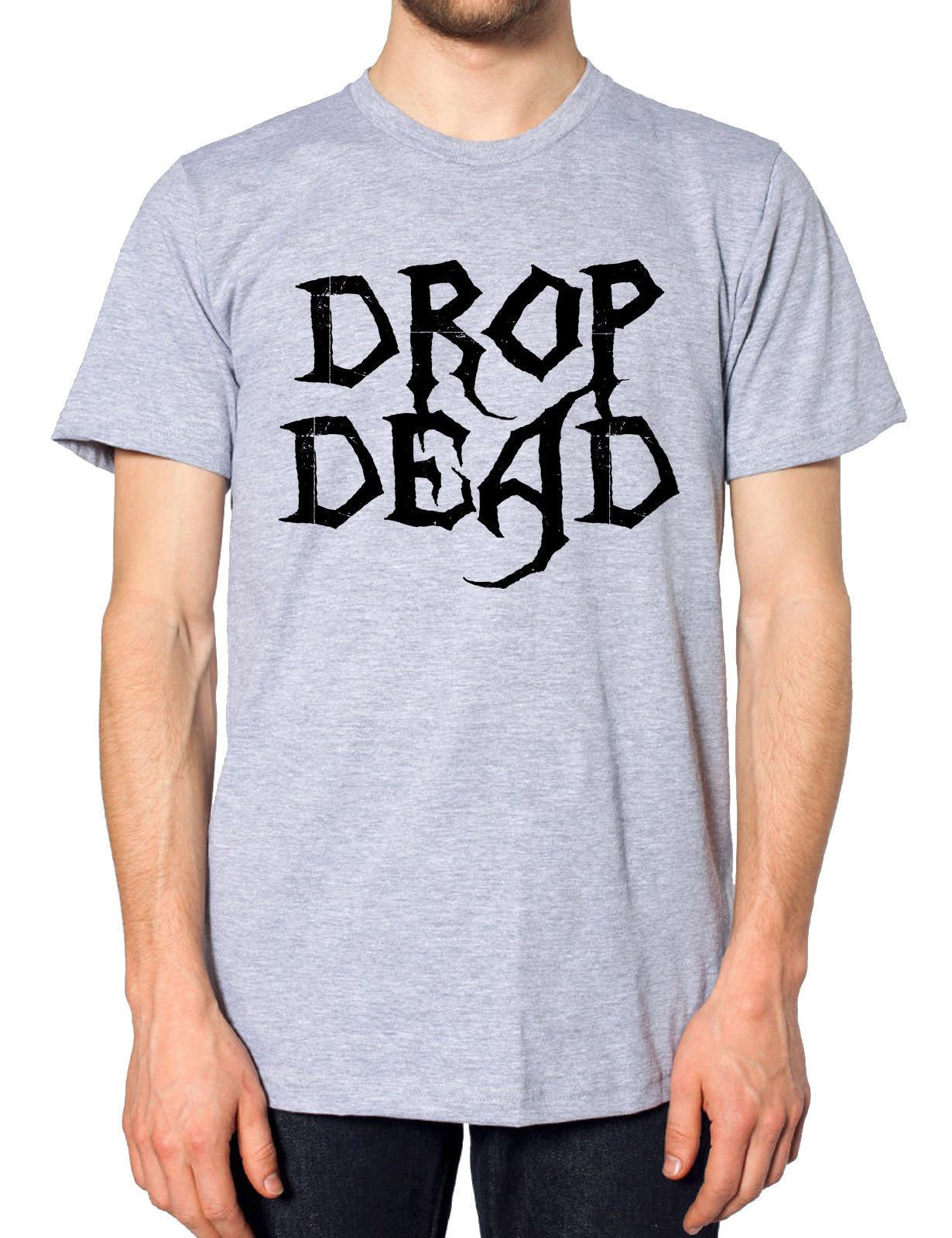 fc75f7464 Drop Dead T Shirt Men Women Kids Emo Goth Punk Zombie Rock Festival ...