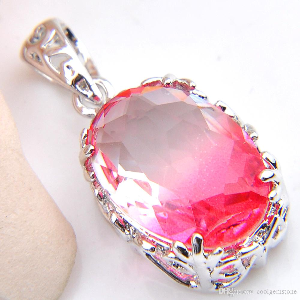 Luckyshine 925 silver Oval Sweet Pink Bi-Colored Tourmaline Gemstone Silver lady Engagement Necklace Pendants