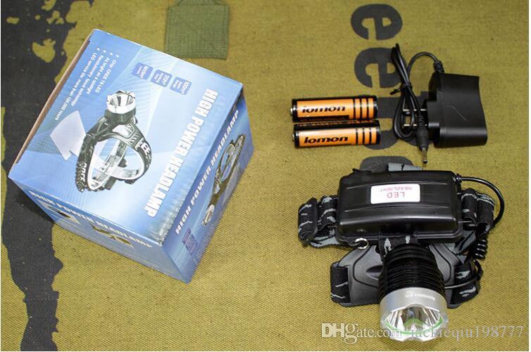 Poderosa bateria interna Torches portáteis Iluminação 8000 adaptador Lumens recarregável Outdoor Camping Lanterna cabeça da tocha Lâmpada Com AC