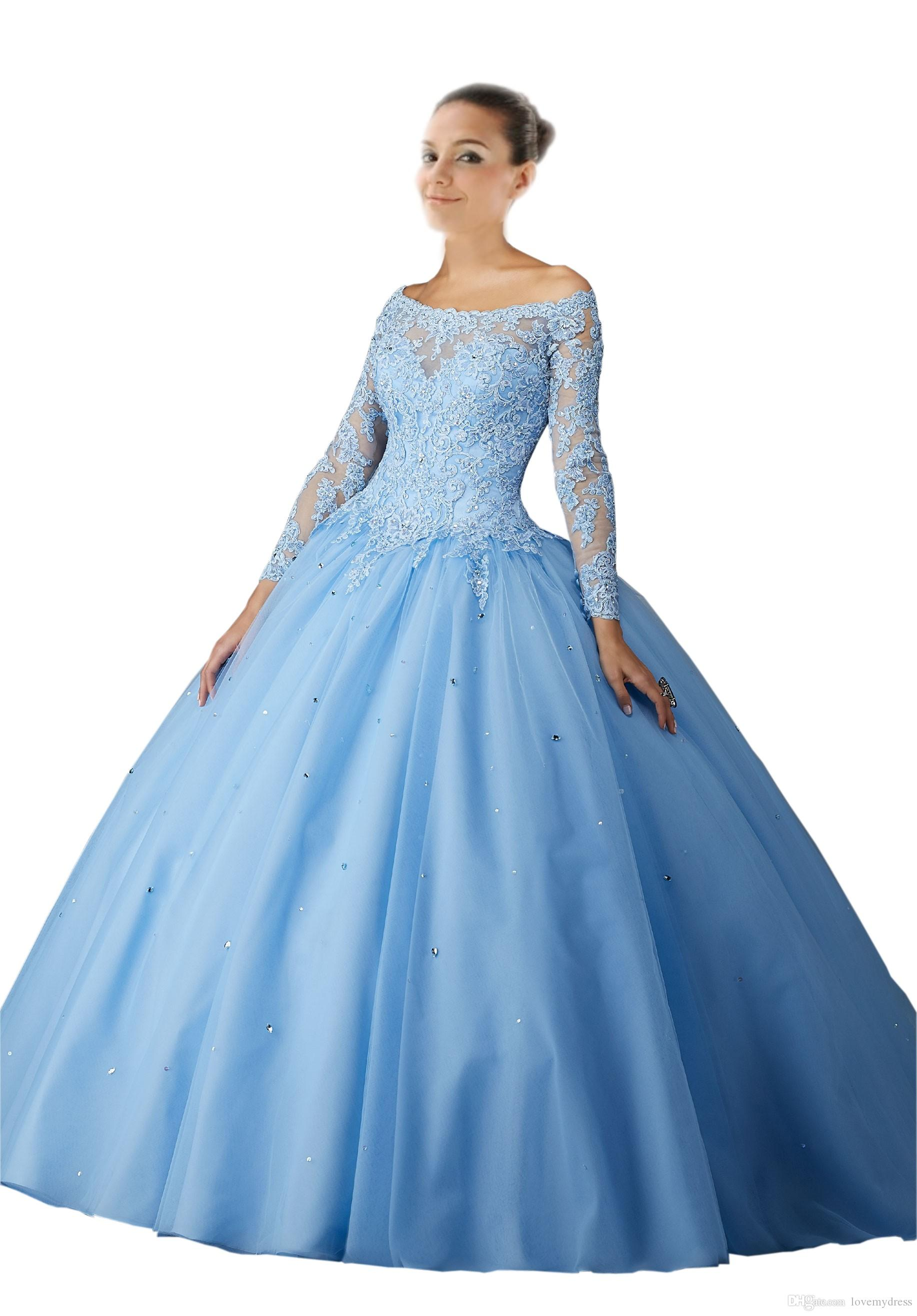 Light Sky Blue Ball Gown Long Sleeves Quinceanera Prom Dresses Off ...