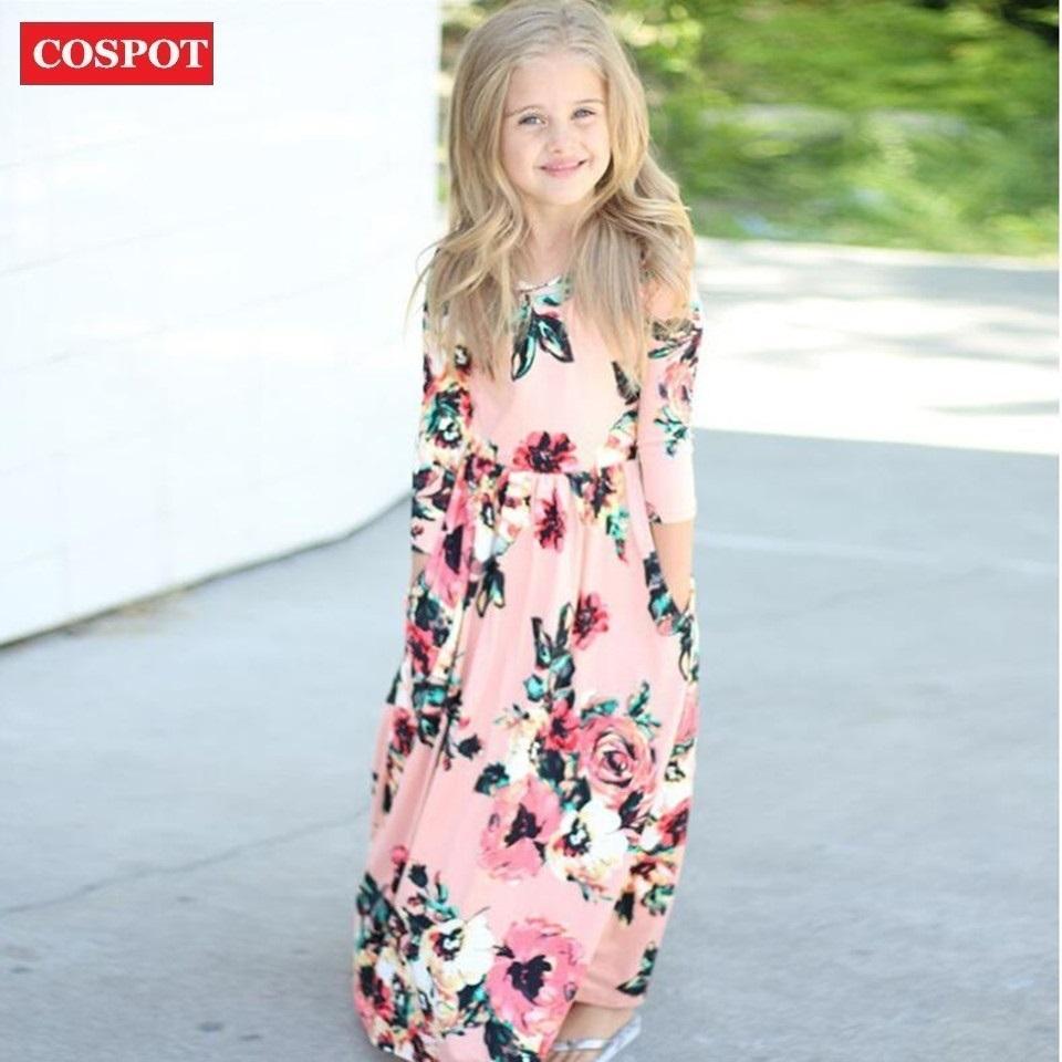 Compre COSPOT Ropa De Playa Para Niñas Bebés Vestidos Largos Chica De Moda  De Manga Larga Vestido Floral Princesa Casual 2018 Nuevo 2T 10T D45  Y1892112 A ... cacc7b28cb8