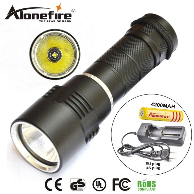AloneFire DV10 dive light XM-L L2 led diving flashlight underwater 50M torch light led flash light lantern for 18650 battery