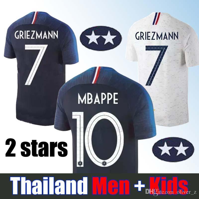 2ee106622b755 Dos Estrellas Copa Mundial 2018   10 MBAPPE Camiseta De Fútbol Para Hombres  Y Kit De Niños   7 GRIEZMANN Camiseta De Fútbol Para Casa   6 POGBA De  Visitante ...