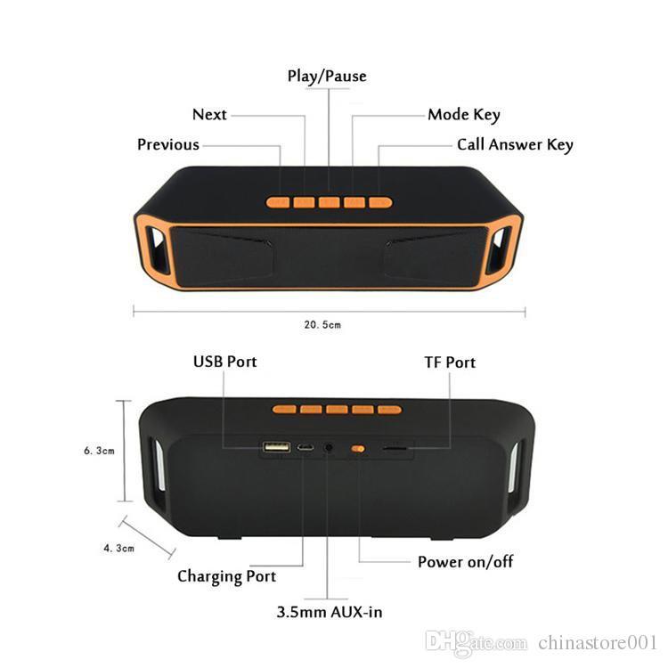 SC208 Mini Alto-falantes Bluetooth Portátil 2018 Venda Quente Sem Fio Loudly Music Player Grande Potência Subwoofer Suporte TF USB FM Rádio