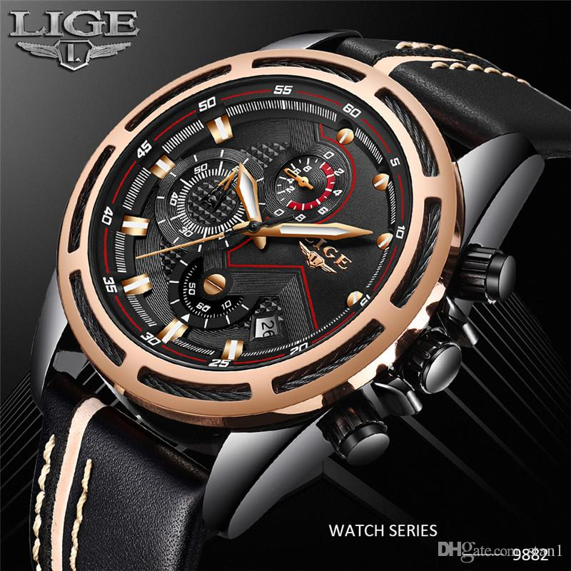 27e4ecdbcbf9 Compre 2018 LIGE Mens Relojes Moda Casual Deporte Reloj De Cuarzo Hombres  Chronograp Reloj Hombre Cuero Negocio Reloj De Pulsera Relogio Masculino A   58.25 ...
