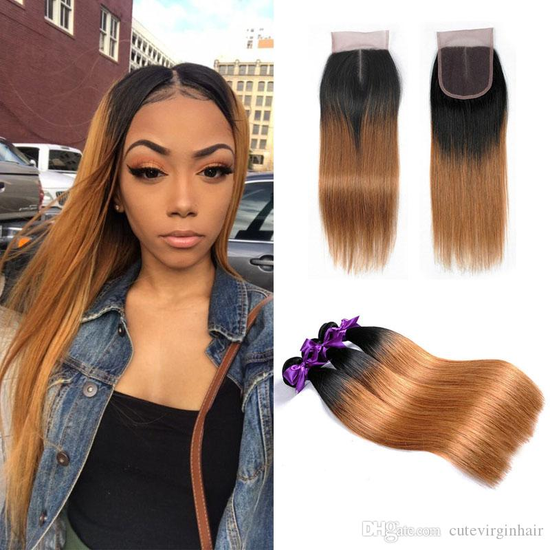 Ombre T1b30 Straight Colored Hair Bundles With Closure Brazilian