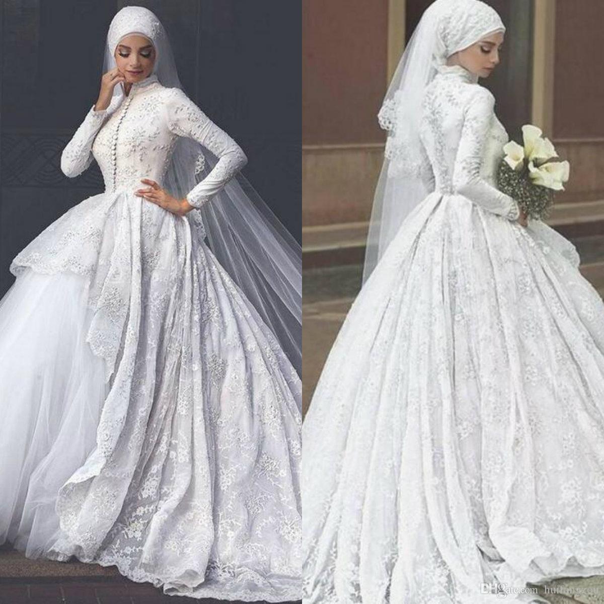 66980a1a5db0 Acquista 2019 Modest Abito Da Sposa Musulmano Collo Alto Pizzo Applique  Maniche Lunghe In Raso Tulle Abiti Da Sposa Con 3 Metri Hijab A  318.99 Dal  ...