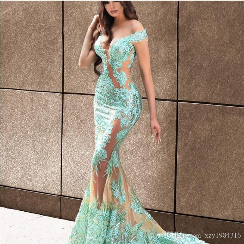 Fabulous Detachable Overskirt Evening Gowns Sexy Off Shoulder Lace Appliques Mermaid Evening Dresses Fashion Arabia Vestidos De Fiesta