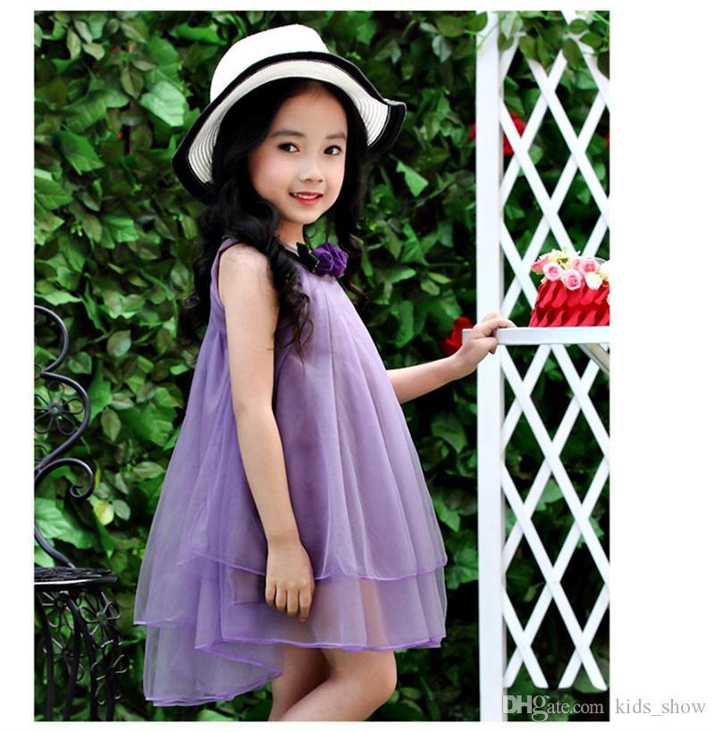 Baby Girl Roses Vestido de princesa de flor Vestido sin mangas Vestido de verano Hasta la rodilla Vestido de gasa es