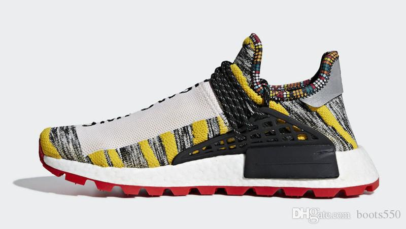 8cee1e697 2018 Top Pharrell Williams X Originals NMD Hu Trial Solar Pack 3MPOW3R  M1L3L3 Human Race Men Women Running Shoes Authentic Sneakers With Box Sport  Shoes ...