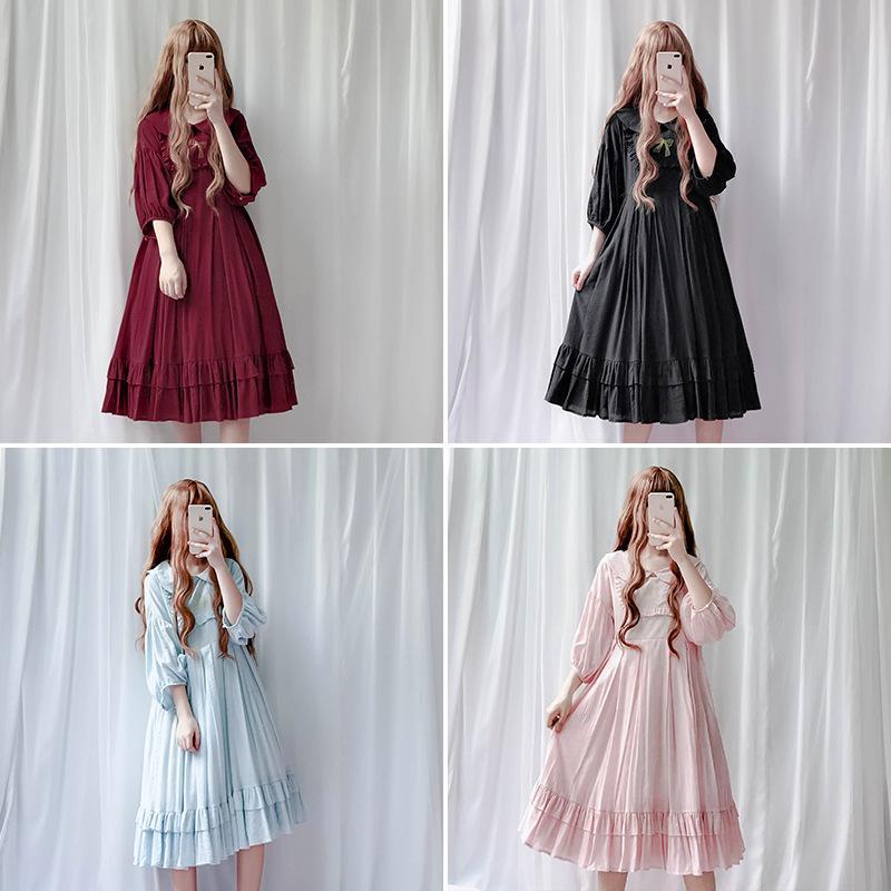 1321c0c48 Compre JSK Japão Estilo Lolita Boneca Gola Vestido Vintage Babydoll Vestido  Bispo Manga Suculenta Plissado Frete Grátis De Weikelai, $35.05    Pt.Dhgate.Com