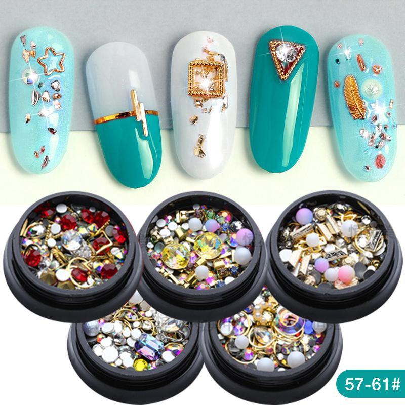 18340ba5e174 Ladymisty 1 caja de pedrería de colores mezclados para uñas 3D Piedras de  cristal para las decoraciones del arte del clavo diy diseño diamantes de ...