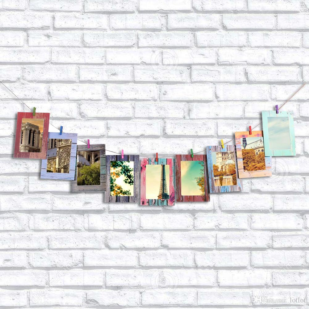 7inch Combination Wall Photo Frame DIY Photo Wall Creative Wood Frame Paper Hanging Album Home Decoration with Wooden Clamp E5M1