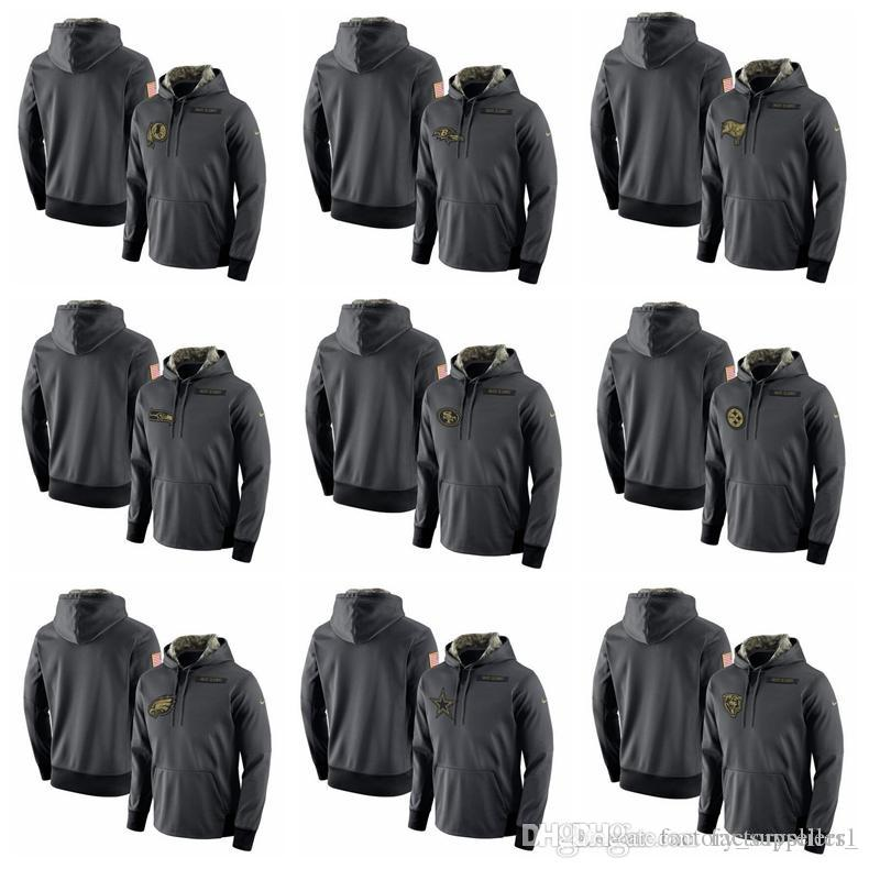 sports shoes ff547 ea20d Men Philadelphia Eagles Pittsburgh Steelers 49ers Seahawks Buccaneers  Titans Redskins Salute to Service Player Performance Hoodie-Anthracite