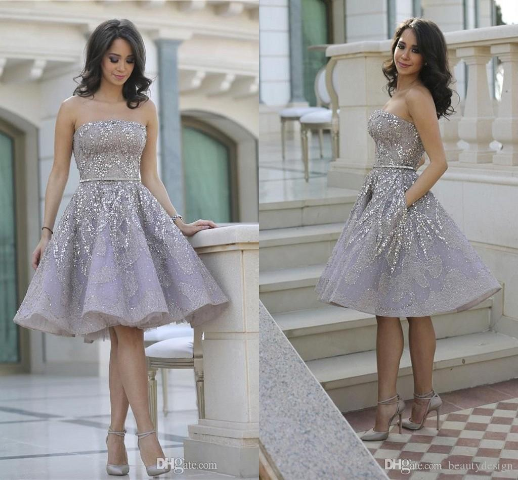 Shiny Glitz Sparkling Short Cocktail Dresses 2018 Strapless Knee ...