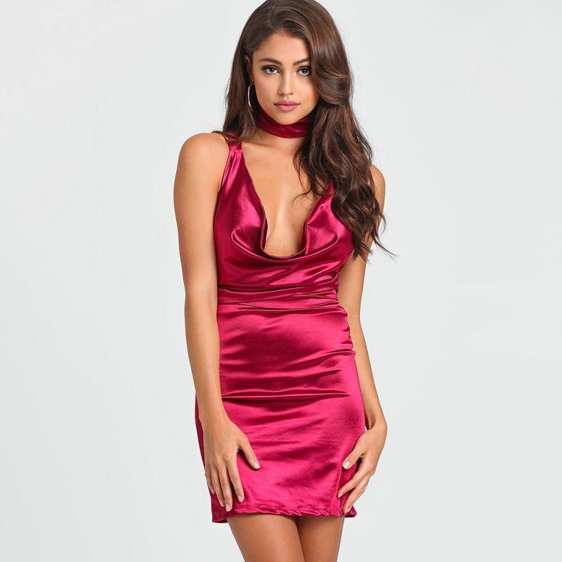 c73c303747 Solid Backless Women Dress Summer 2017 Elegant Sheath Bodycon Women Dresses  Deep V-Neck Mini Sexy Party Dress Ladies Vestidos Online with $35.12/Piece  on ...