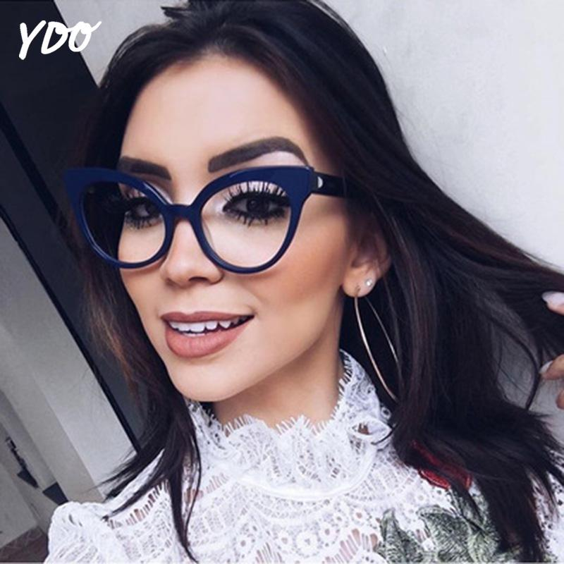 d63daf61f3dd 2019 YDO Newest Big Cat Eye Eyeglasses Women Fashion Transparent Clear Lens  Brand Designer Black Optical Frame Reading Spectacles From Kuanbao