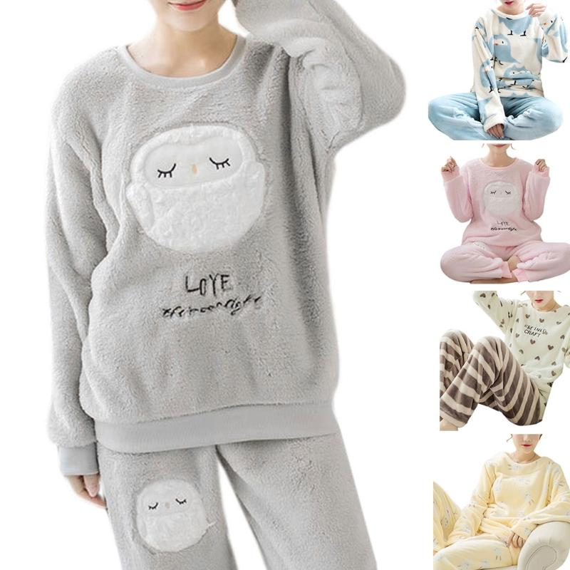 e002a627f 2018 Fashion New Women s Long Sleeve Pajamas Set Girls Ladies Thick ...