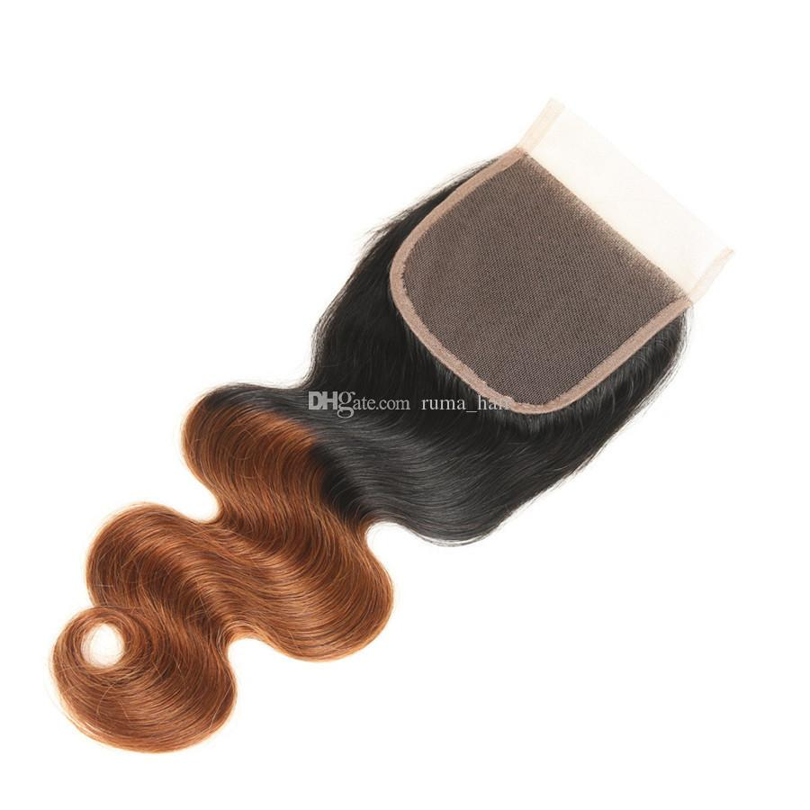 Dark Brown Body Wave Closure Brazilian Virgin Human Hair Weaves With Lace Closure Two Tone 1b 30 Ombre Hair With Lace Closure