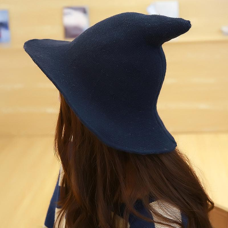 5772e7f035b 2018 Knit Bucket Hat Witch Hat Fisherman Men Women Halloween Decor Party  Hats Brim Sun Berets Witch Pointed Basin Red Black Boonie Hat Fedoras From  Value111 ...