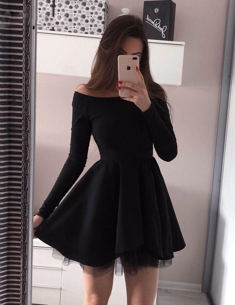 9e5ac101a Compre Vestidos De Coctel Cortos De Manga Larga Vestidos De Mujer 2018 Una  Línea De Cóctel Negro Plisado Vestidos De Graduación A  70.76 Del  Dress1950s ...