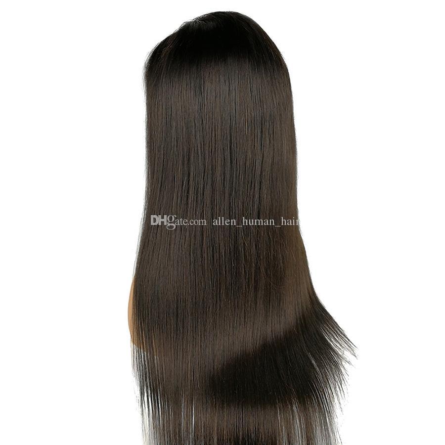 Honrin pelo sedoso recto brasileño virgen cabello humano peluca llena del cordón Pre arrancado con el pelo del bebé 130% densidad frente del cordón peluca nudos blanqueados
