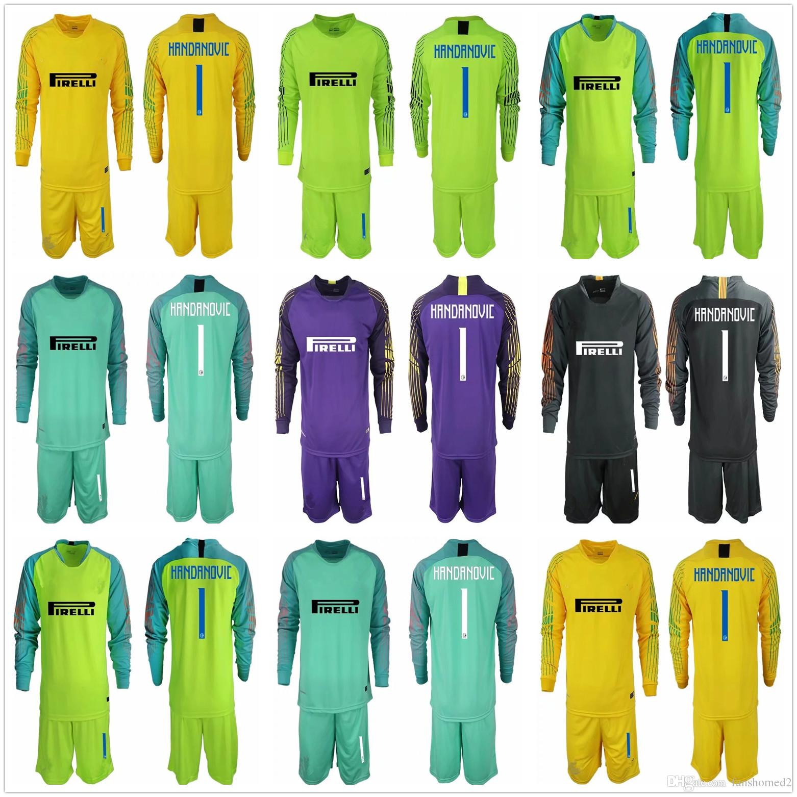 bfd01e212 2019 2018 2019 Adults Long Sleeve Handanovic Goalkeeper Jerseys Soccer Sets  18 19  1 S. Handanovic Goalkeeper Goalie Jerseys Kit Uniform From  Fanshomed2