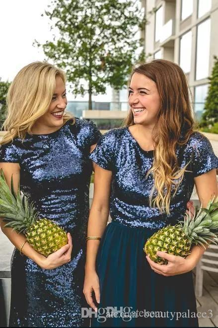 Sparkly Navy Blue Sequins Two Piece Bridesmaid Dresses with Sleeves 2018 Country Style Custom Make Wedding Party Guest Junior Dress Cheap