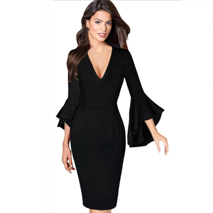 bc0767ead779 Acquista Vestito Sexy Donne Vestono Donne Abiti Da Donna In Grandi Taglie  Donne Sexy Flare Bell