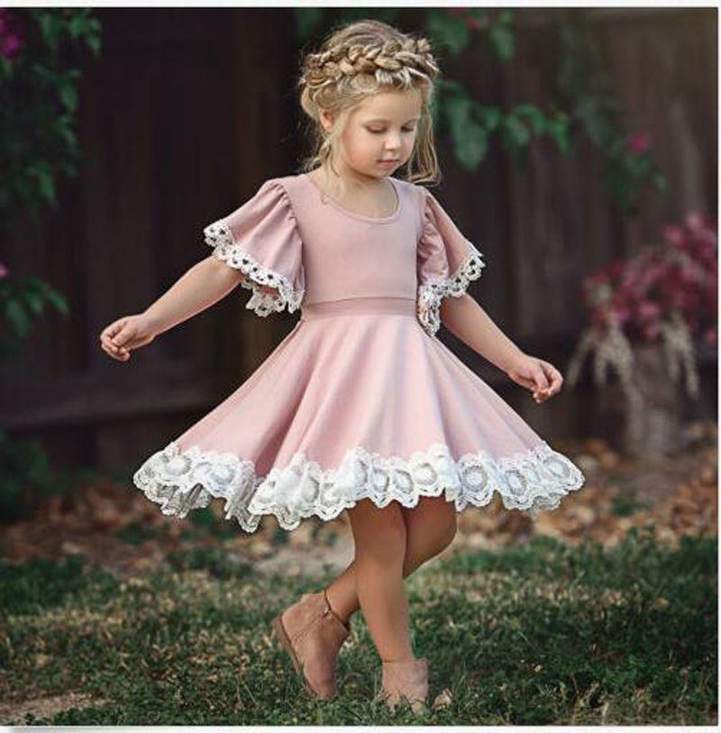 2019 New Baby Girl Summer Dress Children Pink Lace Princess Dress