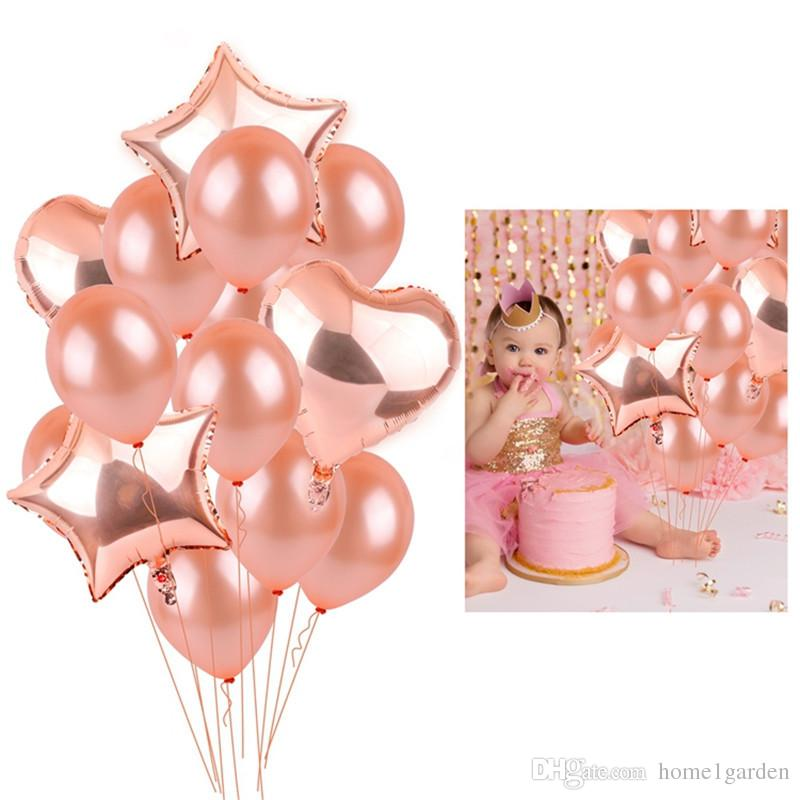 Rose Gold Birthday Balloons Champagne Foil Star And Heart Helium Balloon Wedding Party Decoration Baby Shower Supplies