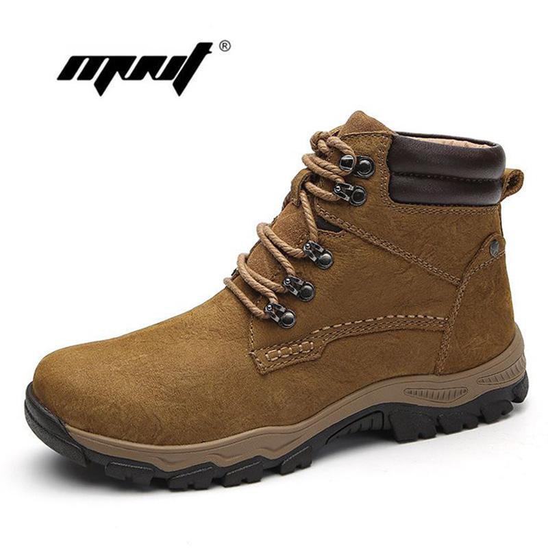 c4ac49f25d779 Compre Botas De Cuero Natural Para Hombre Botas De Piel De Felpa Botas Para  La Nieve Calientes Zapatos De Moda Hechos A Mano Calzado De Goma Para Hombre  ...