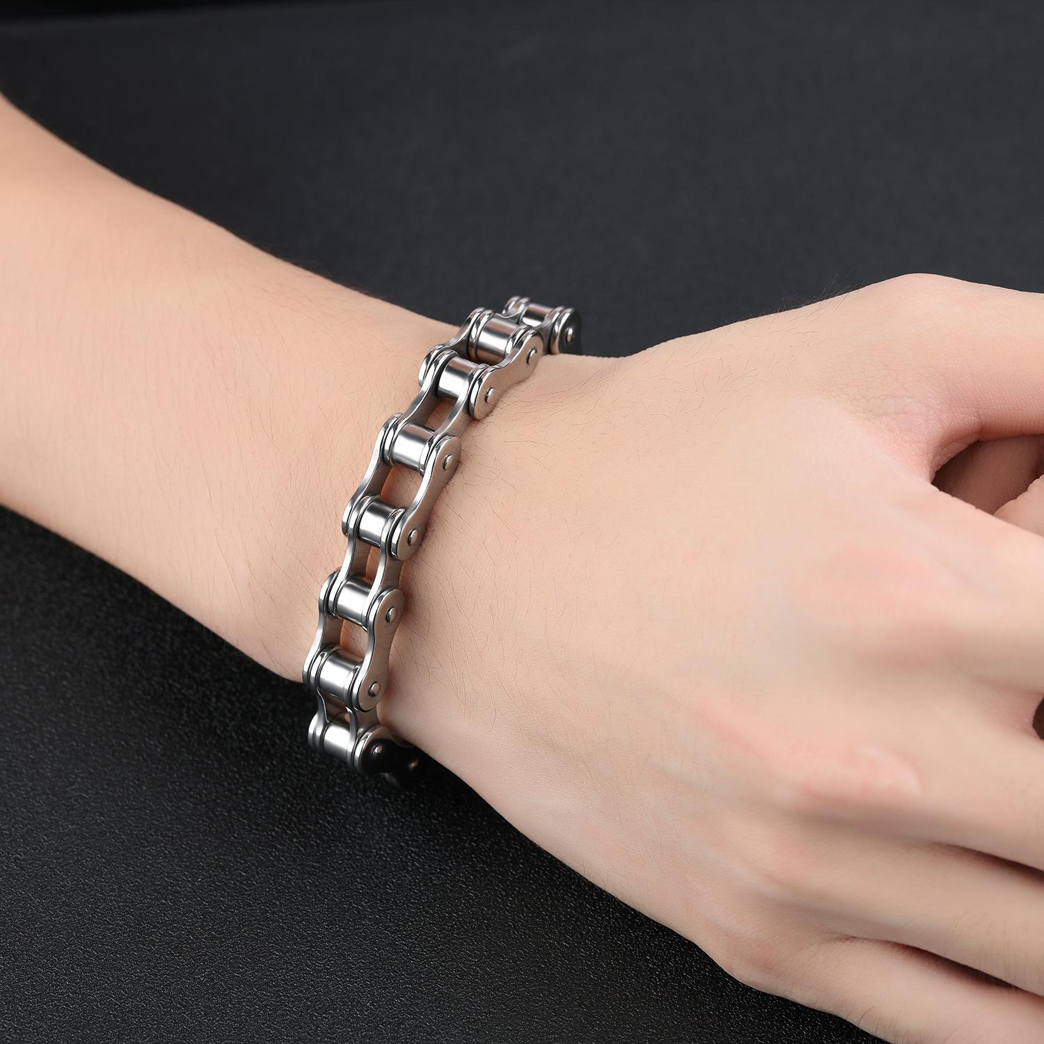 CC JEWELRY Men Silver Biker Bracelet 2018 Latest Design Stainless Steel High Quality Chain Bnagle Jewelry