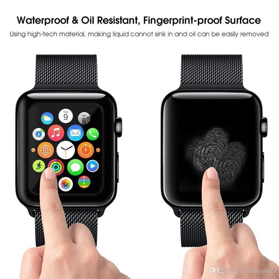 ل Apple Watch 5 3D غطاء كامل الزجاج المقسى حامي الشاشة 40 ملليمتر 42 ملليمتر 38 ملليمتر 44mm مضاد للخدش فقاعة خالية ل iwatch سلسلة 2 3 4