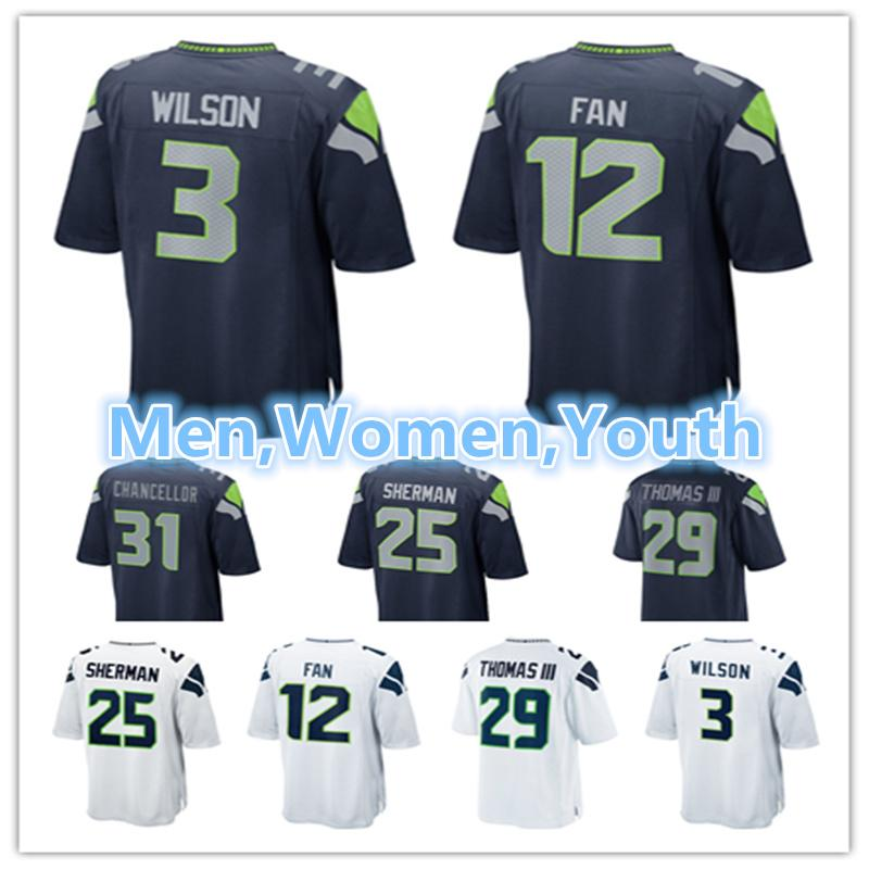2019 Men Women Youth Seattle Seahawks Jerseys 3 Russell Wilson 12 Fan 25  Richard Sherman 29 Earl Thomas 31 Kam Chancellor Football Jersey From  Lixujersey 275724a26b