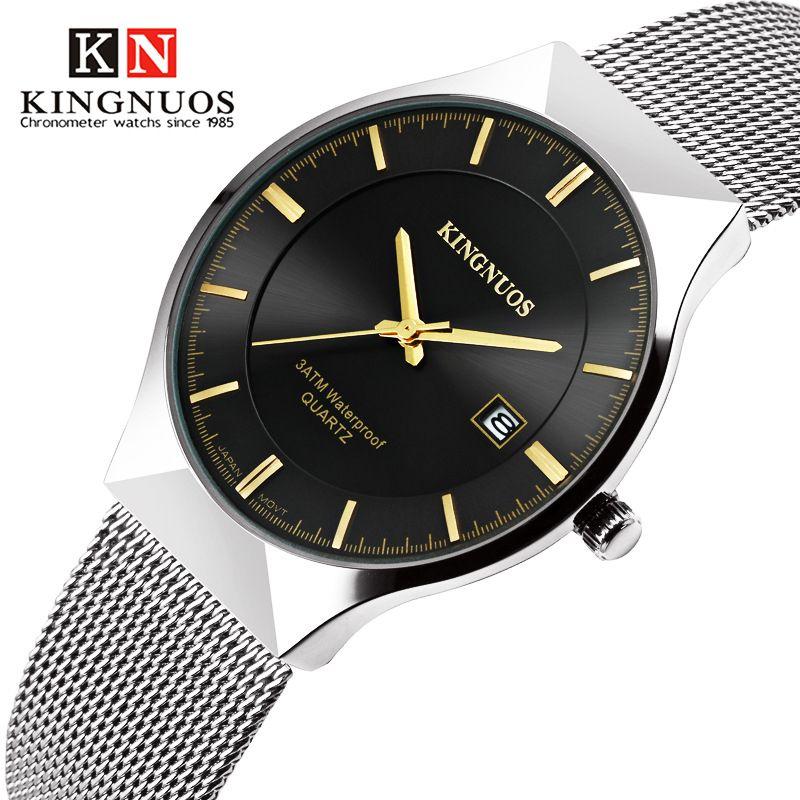89eff4d1eed0 Compre Top KINGNUOS Marca Hombres Relojes Ultra Delgado Reloj Simple Negro  Dorado Banda De Malla Correa De Acero Inoxidable Calendario Reloj De  Pulsera ...