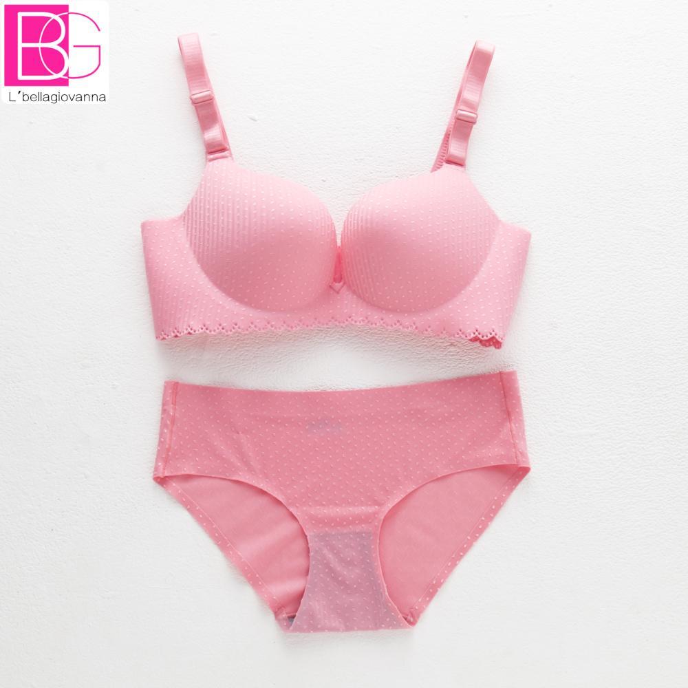 Бесшовные вышивка женщины бюстгальтер краткие наборы розовый пуш-ап регулируемая женщины бюстгальтер установить молодая девушка сексуальное нижнее белье трусики устанавливает белье