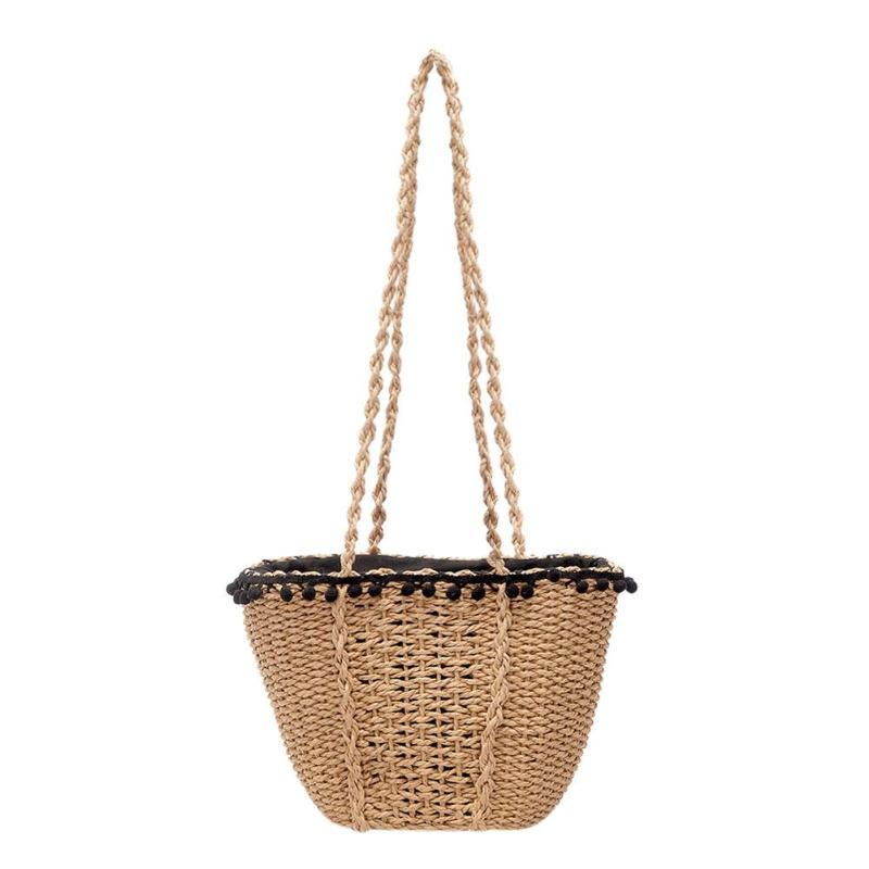 Retro Beach Handbags Women Straw Casual Drawstring Summer Basket Travel Shoulder Tote Bag ladies handbags shopper bucket bag