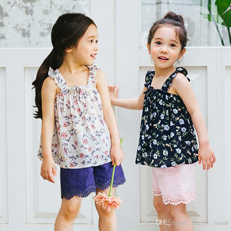 Floral Baby Girls Outfits Summer Flower Toddler Casual Clothing Sets Printed Ruffle Dress + Lace Shorts Suits C3521