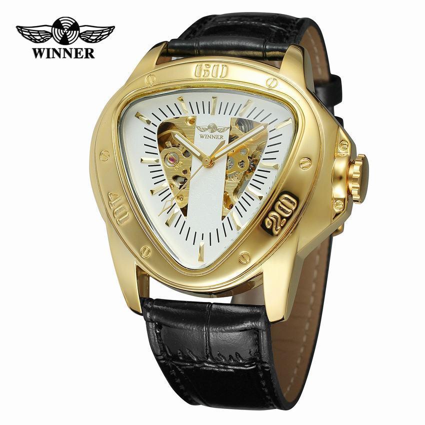 adf946e5b56 Compre Ganador Automático Mecánico Hombres Reloj Racing Sports Design  Triángulo Esqueleto Reloj De Pulsera Marca De Lujo De Lujo Oro Negro A   75.33 Del ...
