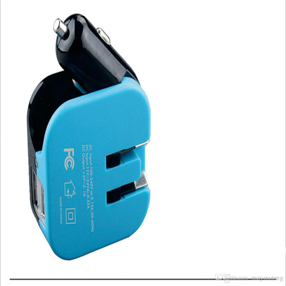 YENI Çift USB Araç Şarj 2 IN 1 Seyahat Duvar Adaptörü evrensel Dijital LED Ekran apple Samsung Için 2.1A Hızlı Şarj Gerilim Izleme