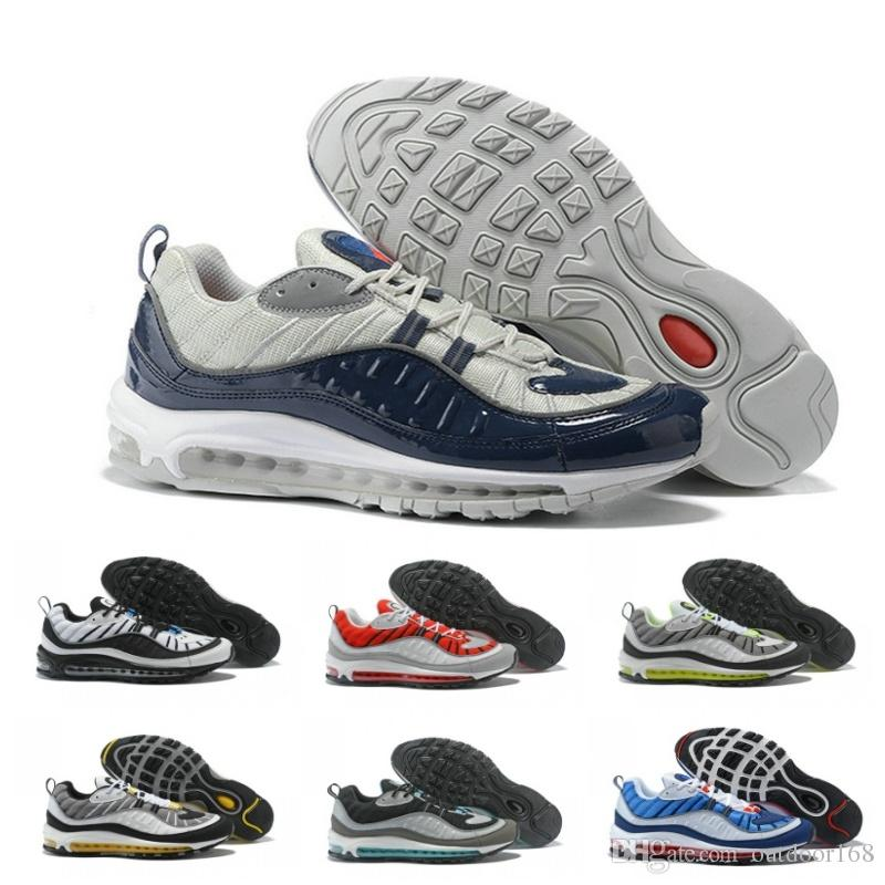 31396e74e54c New Top 98 98s Stripe Navy Blue White Gundam Style Best Quality Mens Casual  Running Shoes Sport Discount Sneakers Size 7-12 Basketball Shoes Men Shoes  ...