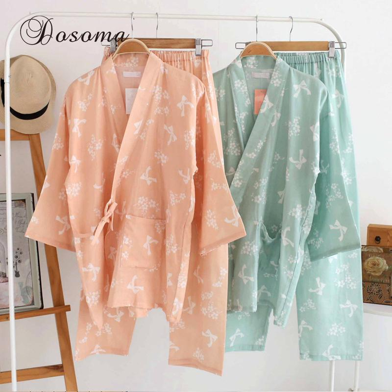 a9a3a34e451d Pijamas japoneses tradicionales conjuntos simple Kimono algodón Yukata  chica estilo suelto camisón ropa de dormir albornoz ropa de ocio de vapor