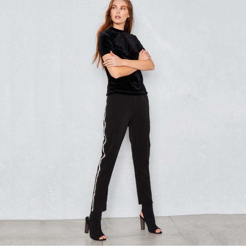 Hohe Taille sportliche weiße Seite Streifen Hosen Frauen Straße chic adrette schwarze Freizeithose Damen stilvolle verjüngt Training Hosen