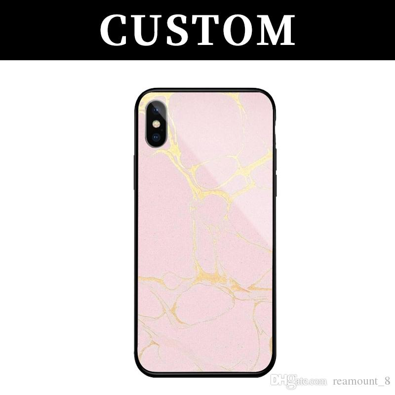 best website 070c1 62c6c 50 pcs Personalized Custom Marble Tempered Glass Case For Apple OPPO VIVO  Phone Cover DIY Your Own Picture Back Case