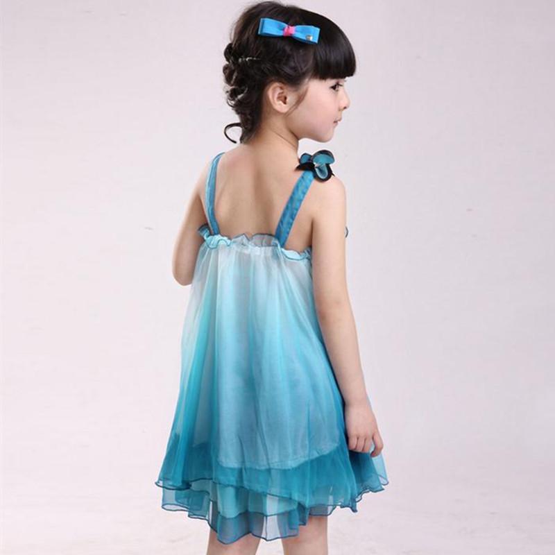2017 été filles Nouveaux vêtements pour enfants fille habillement étudiants enfants filles robe en mousseline de soie fête danse princesse Vestidos