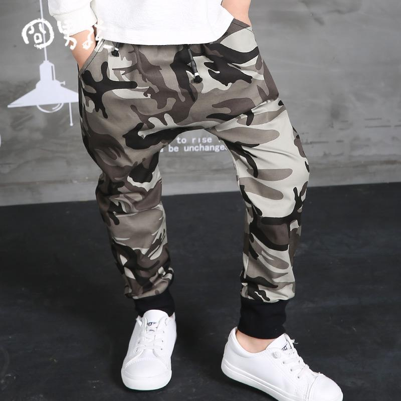 WENDYWU 2017 NEW Autumn Clothing Hip Hop Dance Harem Black camouflage Leisure Sports Pants kids Boys Big Crotch stripe Pants