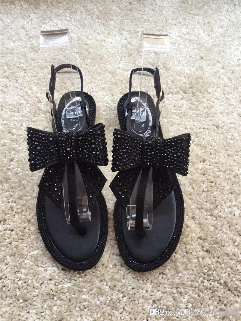 2fd77a0da542 2018 Newest High Quality NEW RENE CAOVILLA Embellished Crystal And Pearl  Calf Flat Thong Sandals With Original Box Clogs For Women Shoe Boots From  Xiubao